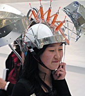 Student with head gadget