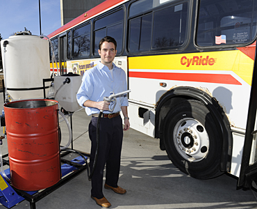 David Correll, a College of Business Ph.D. student and co-founder and president of ISU BioBus, looks forward to using the group's new processor to make biodiesel for CyRide bus No. 18.