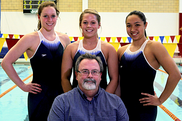 Iowa State kinesiology professor Rick Sharp called upon Cyclone swimmers (L to R) Amanda Paulson, Bri Carlberg and Imelda Wistey to test out Speedo's new Fastskin�3 Racing System.