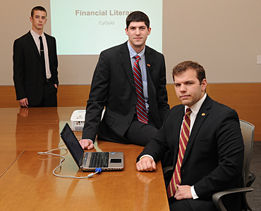 CyGold President Gregory Hunt (left), Iowa State GSB President Dakota Hoben (center) and GSB Vice President Jared Knight (right) were instrumental in founding CyGold.